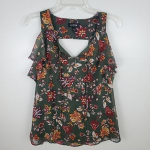 A. Byer Green Floral Cold Shoulder Top Small